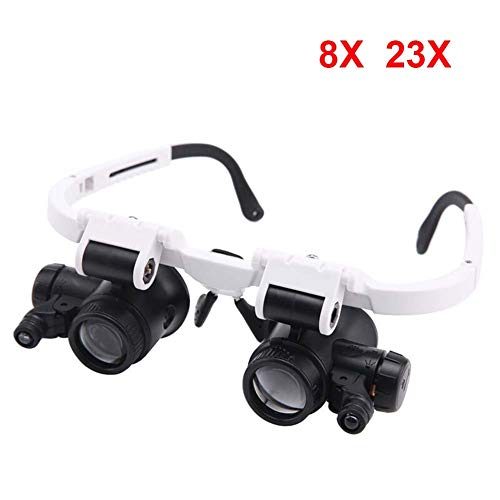 ASNPO Hands Free Headband Magnifier - 8X 23X Zoom with 2 Detachable Lenses-Head Mounted Head Magnifying Glasses with Light for Reading,Jewelry Loupe,Watch,Electronic -