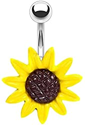 BodyJ4You Stunning Sunflower Belly Button Ring 14G