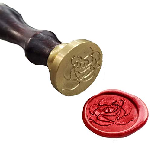 The Rose Wax Seal Stamp, Silver Brass Head with Wooden Handle for Decorating Gift Packing, Envelopes, Parcels, Birthday Parties, Letters