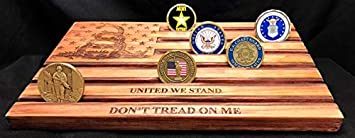 LOKI ENGRAVING Don t Tread on Me United We Stand Red Challenge Coin Display