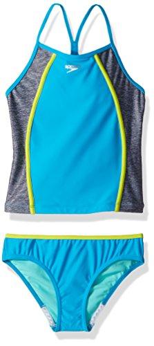 Speedo Girls Heather Splice Tankini Two Piece, Blue, Size 14 (Two Piece Swimsuit Speedo)