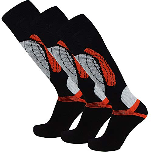 PureAthlete Elite Wool Race Ski Socks - Warm Comfortable Snowboard/Skiing Socks (Black/Orange - 3 Pack, L/XL) ()