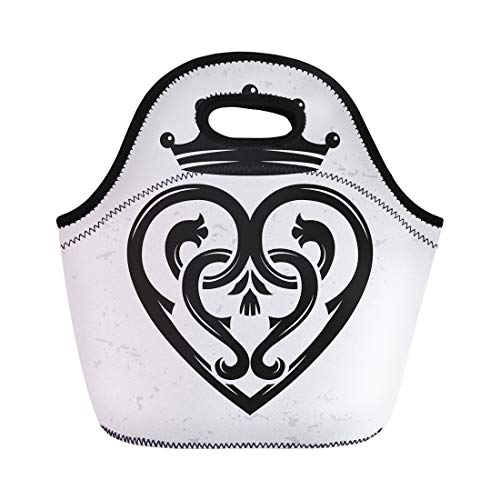 Scottish Thistle Jewellery (Semtomn Neoprene Lunch Tote Bag Luckenbooth Brooch Vintage Scottish Heart Shape Crown Symbol Valentine Reusable Cooler Bags Insulated Thermal Picnic Handbag for Travel,School,Outdoors, Work)