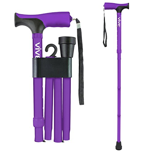 Folding Cane by Vive - Walking Cane for Men & Women - Collapsible, Lightweight, Adjustable & Portable Walking Stick Mobility Aid - Sleek Look & Comfortable Handles (Purple) (Candy Cane Purple)
