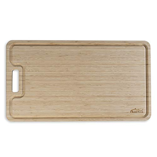 "FilletCo Organic Oversized Large Bamboo Cutting Board - 31.5""W x 18""D x 0.75""H - XL Drip Groove - Use in Kitchen, Boats, Grilling, Hunting - Extra Large Cutting Area"