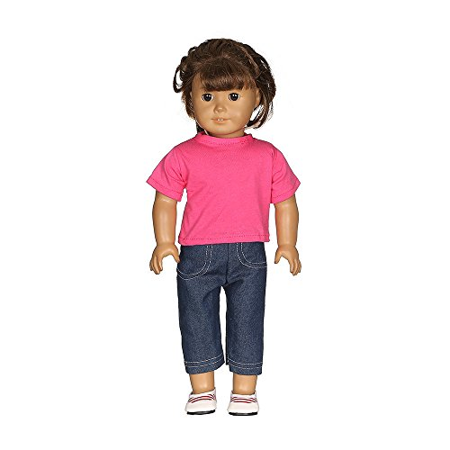 Doll Clothes,WensLTD 2pc Casual T-Shirt Jeans Pants Fit for 18 inch Our Generation American Girl Doll (Hot Pink)