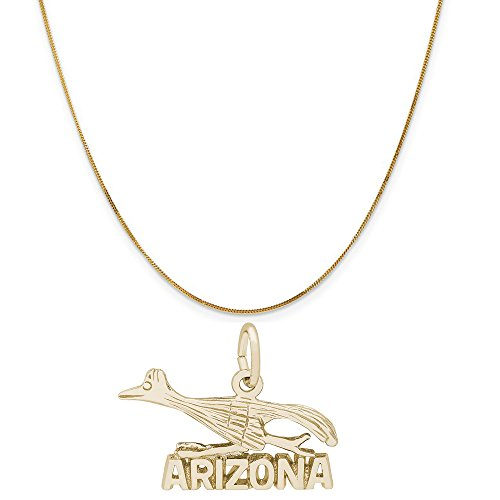 Rembrandt Charms 14K Yellow Gold Arizona Road Runner Charm on a Curb Chain Necklace, 18