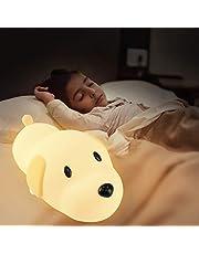 Baby Nachtlampje, PTN Hondennachtlampje voor Baby Kids, Bedlampje Veilig Zachte Siliconen Hondenlamp met Veelkleurige Lamp, Leuke Doggy Nachtlampje, Geweldig voor Babykamer & Slapen Slaapkamer Bureau