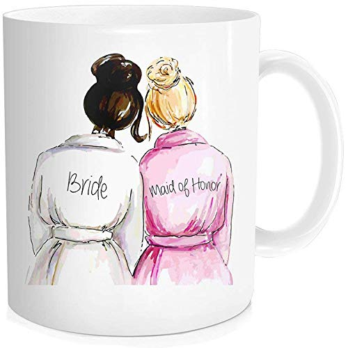 Waldeal 1 Piece, Maid Of Honor with Bride Best Friend Gifts. Wedding Coffee Mug, 11-OZ Fine Bone Ceramic White