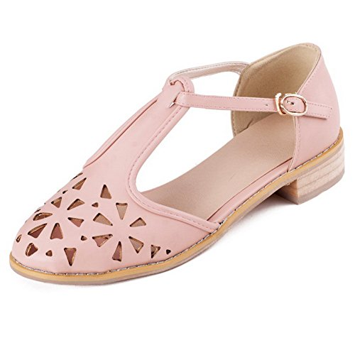 VogueZone009 Womens Closed Toe Round Toe Low Heels PU Soft Material Solid Sandals with Hollow Out Pink a0wAlR