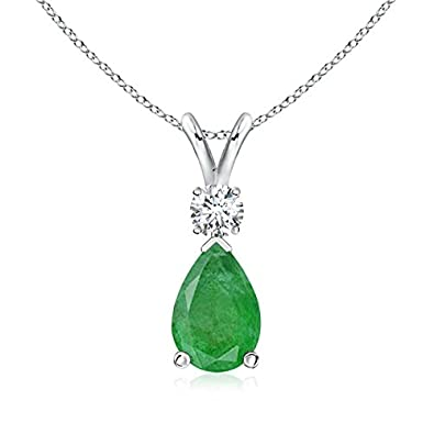 Angara Pear Shaped Emerald Diamond Solitaire Pendant in Yellow Gold HzY7m5