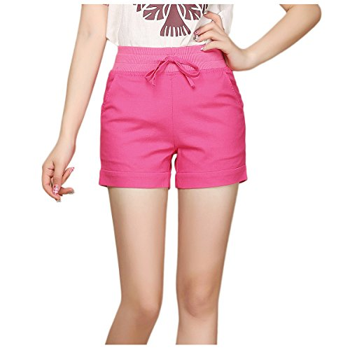 Kaachli Women's Casual Linen Pocket Flat Front Shorts (2, Red)