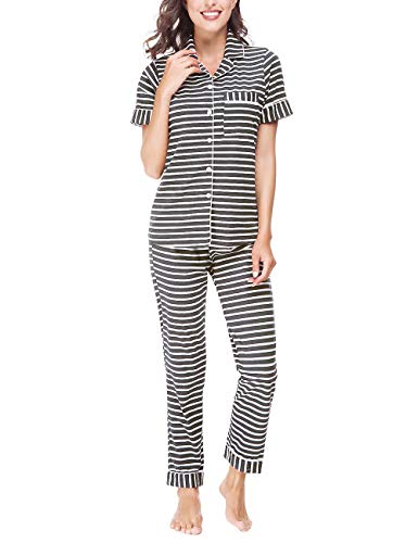 RIKILIO Women's Pajamas Set 2 Piece Classic Sleepwear Soft Pj XS-XL(Gray Stripe,S)