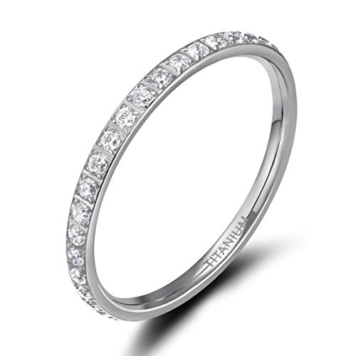 TIGRADE 2mm Women Titanium Eternity Ring Cubic Zirconia Anniversary Wedding Engagement Band Size 3-13, Silver, Size 5.5