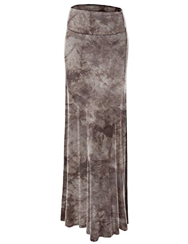 Lock and Love WB1058 Womens Tie Dye Fold Over Maxi Skirt XXL Brown