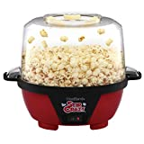 West Bend 82505 Stir Crazy Electric Hot Oil Popcorn Popper Machine with Stirring Rod Offers Large Lid for Serving Bowl and Convenient Storage, 6-Quart, Red