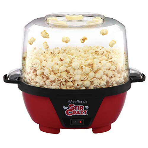West Bend 82505 Stir Crazy Electric Hot Oil Popcorn Popper Machine with Stirring Rod Offers Large Lid for Serving Bowl and Convenient Storage, 6-Quart, Red (Best Popcorn Machine For Home Use)