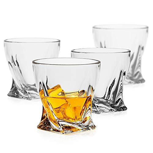 LUXU Whiskey Glasses(Set of 4)-10 oz Twisted Scotch Glasses,Premium Old Fashioned Glasses,Clear Crystal Bourbon Rock…