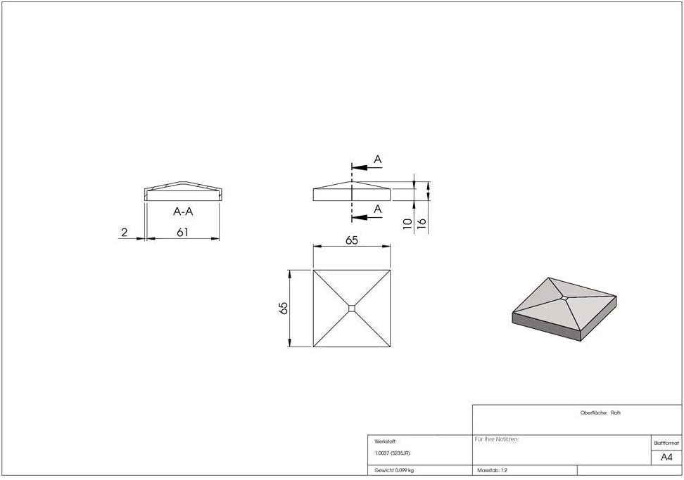 acero S235JR bruto tapa de pilar//tapa de poste para tubo cuadrado dimensiones: 120x120 mm Fenau