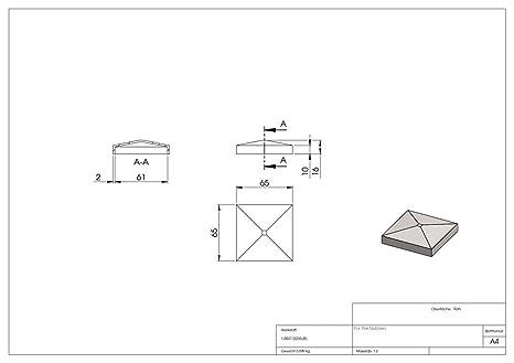 Pfeilerbedecker Abdeckkappe für Quadratrohr 50 x 50 mm mit Kugel Ø 50 mm