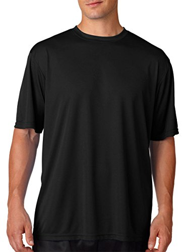 A4 Men's Cooling Performance Crew Short Sleeve T-Shirt, Black, (Performance Dry T-shirt)