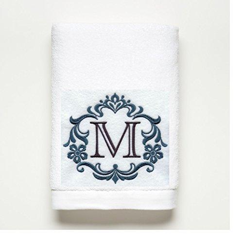 Monogram Letter ~ Towel Set ~ 100% Cotton ~ A B C D E F G H I J K L M N O P Q R S T U V W X Y Z (M) (Hand Towel Monogrammed)