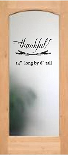 Walls with Style Thankful Wall or Pantry Door Decal with Wheat, (All Black)
