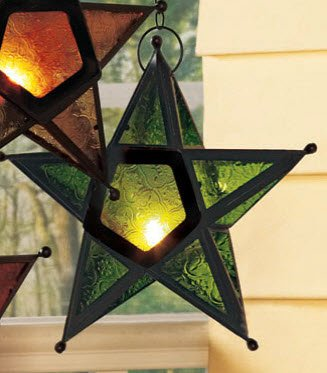 Green Glass 'n Metal Star CandleHolder Chandelier: Indoor or Outdoor