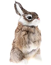 SM SunniMix Realistic Animal Figure Simulation Crouch Rabbit Toy - Brown, as described