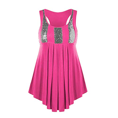 Sunhusing Womens Solid Color Large Size Sleeveless Vest Sequins Stitching Irregular Ruffled Hem Top T-Shirt Pink