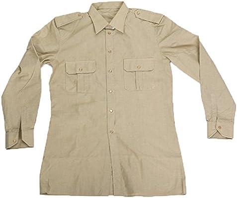 Fratelliditalia - Camisa de ejército italiano militar de algodón de manga larga soldado para ordenar beige 40: Amazon.es: Deportes y aire libre