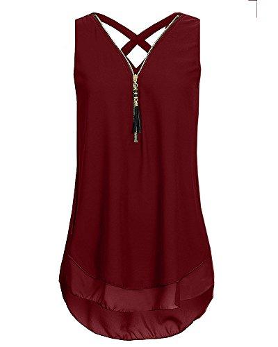 V Col Taille Chemisier T Rouge Tops Chemises Fermeture Pure Camisole Gilet Shirt clair sans Manches Femme Vin Grande IS6tFqP