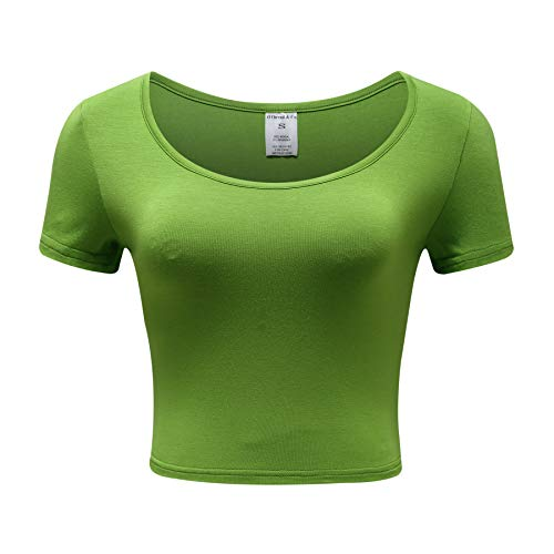 OThread & Co. Women's Basic Crop Tops Stretchy Casual Scoop Neck Cap Sleeve Shirt (Large, Grass Green)