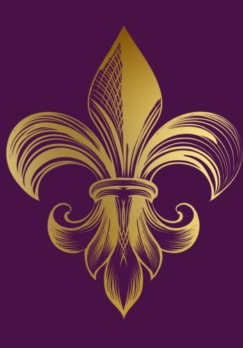 Golden Fleur De Lis Notebook (A5): A Classic Ruled/Lined Journal/Composition Book To Write In With Gold French Fleur De Lis Flower (Purple/Violet) Best Friend and Other Women and Teen Girls