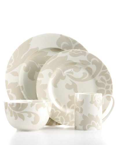 Martha Stewart Collection Dinnerware Lisbon Grey 4 Piece Round Place Setting (Dinnerware Martha Stewart)