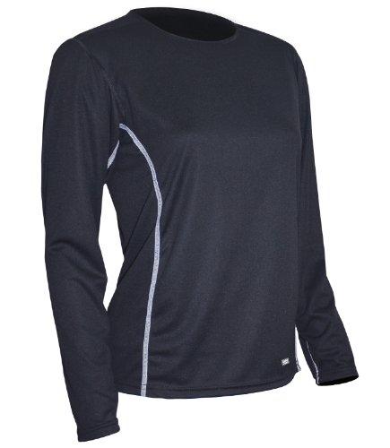 Polarmax Long Underwear - Polarmax Light Weight Tech Silk Women's Long Sleeve Crew Tee (Black, X-Small)