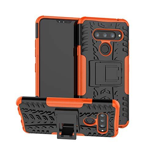 LG V40 ThinQ Case, LG V40 Case, Boythink Double-Layer Hybrid Shock Resistant Armor with Kickstand Protective Case for LG V40 Storm (Orange)