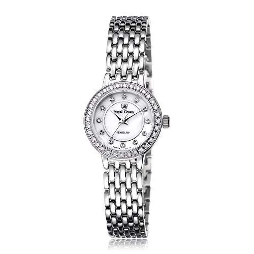 Quartz Dress Watch Luxury Silvery-Tone Steel Strip Bangle Watch Jewelry Series Women Fashion Wrist Watches ()