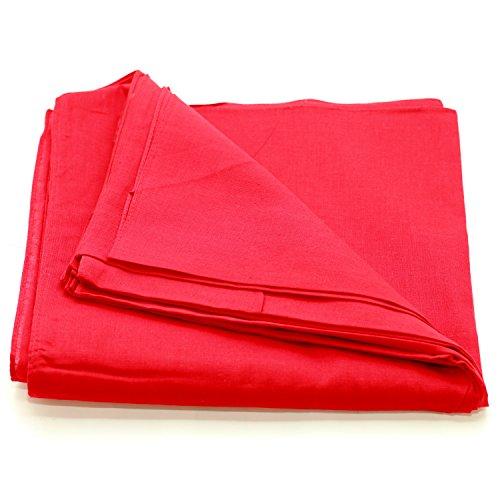 Solid One Dozen 100% Cotton Bandanas (Red Plain, 22 X 22 in)