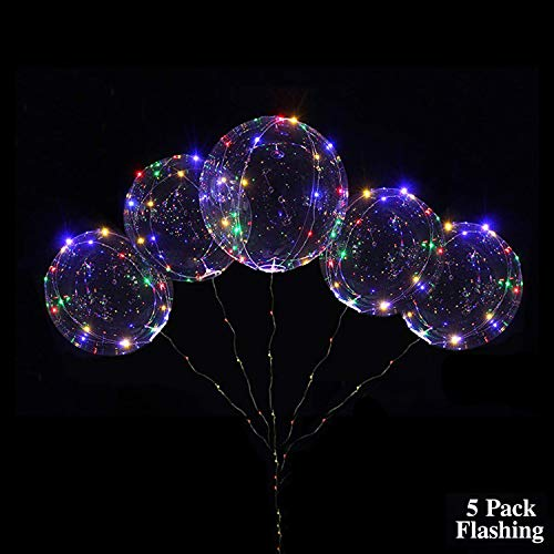 18 Inch 5 PCS 3 Mode Flashing Led Light Up BoBo Balloons Colorful/ WarmWhite Fillable Transparent Balloons with Helium, Great for Christmas Party, House Decorations, Graduation (Colorful Flashing) -