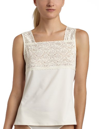- Cinema Etoile Women's Square Neck Cami,Ivory,X-Large