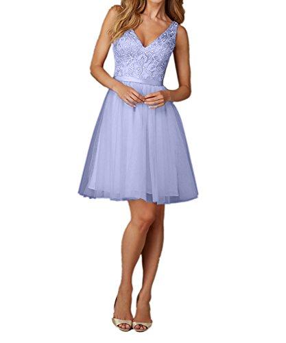 Abendkleider Charmant Brautjungfernkleider Ausschnitt Kurz Spitze Knielang Partykleider V Lilac Damen Champagner 8F8Yc