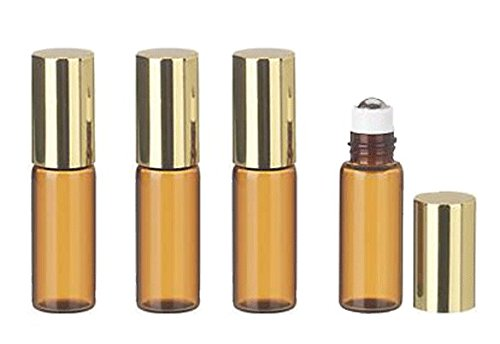 Grand Parfums 6 Pcs Thin Tall Amber Glass Brown 3ml Roll on Bottle with Gold Metallic Caps for Essential Oil Steel Metal Roller Ball for Travel
