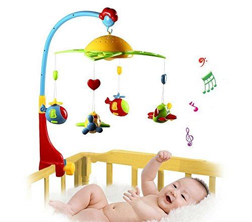 Musical Crib Mobile Bed Bell Baby Rattle Rotating Bracket Toy Projecting Hanging