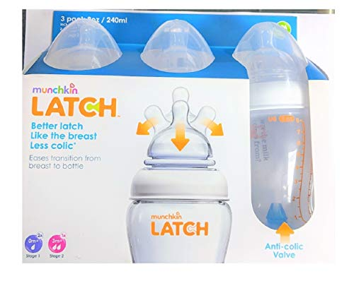 Munchkin Latch BPA-Free Bottles, 8 Ounces, 2 Stage-1 Bottles and 1 Stage-2 Bottle Per Pack (2 Packs Total)