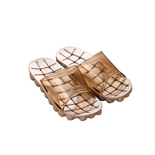 TELLW Summer Fall Fashionable bathroom slippers home wood flooring non-slip bathing couple Slippers Woman Coffee OVLgz3q