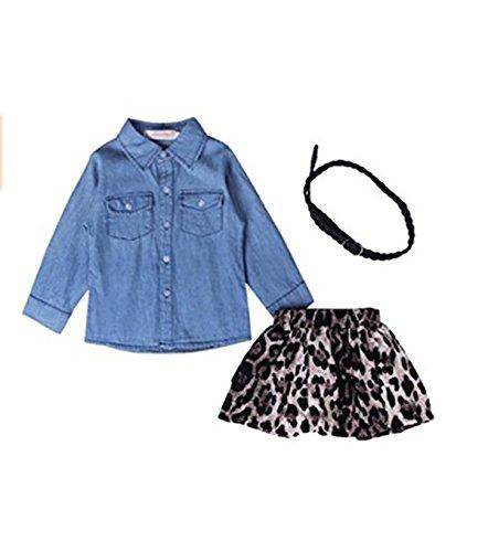 - Jeleuon Kids Girls 3PCS Denim Fashion Long Sleeve T-shirt Leopard Print Skirt Set (8T, Blue)
