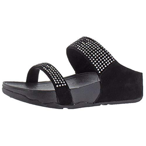 (FitFlop Women's Flare Slide Sandal,Black,8 M US)