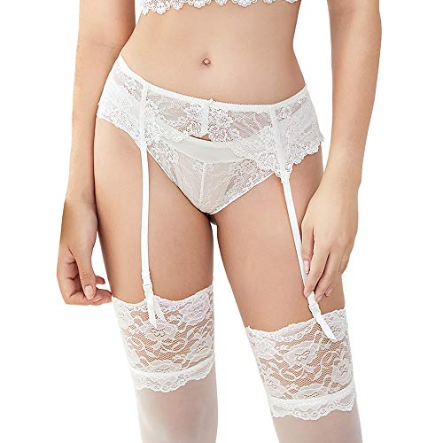 Women Sexy Lace Suspender Black Garter Belt for Thigh High Stockings (N022, White, L) (Cream Bow Belt)