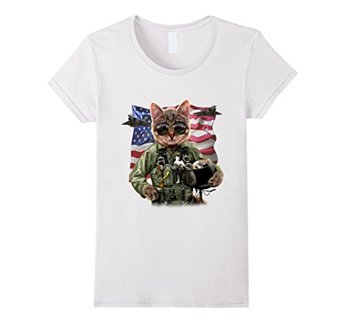 Women's T-Shirt - Cool Cat Impersonate United States Air Force Pilot Small White